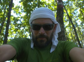 Graziano Viviani, selfie in the wood during his 400 km journey on foot along the Apennines
