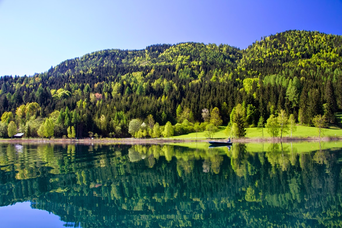 Weissensee, hundred shades of blue in the Lake of Carinthia