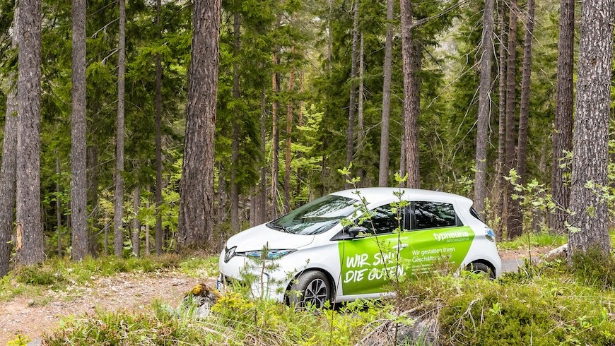 Electric car in the forest