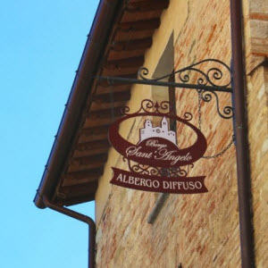 A sign of Borgo Sant'Angelo hotel