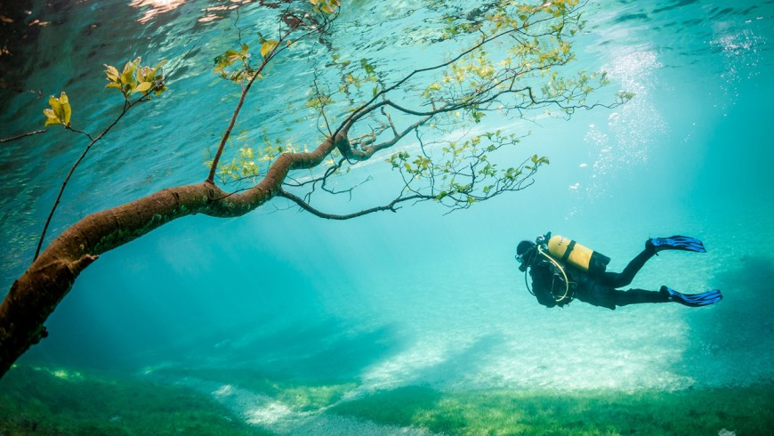scuba diving in the Green Lake, Austria