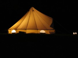 enlightened tent at night