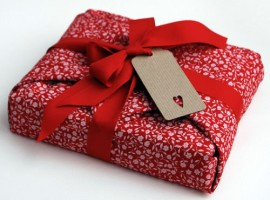 Gift package with fabric