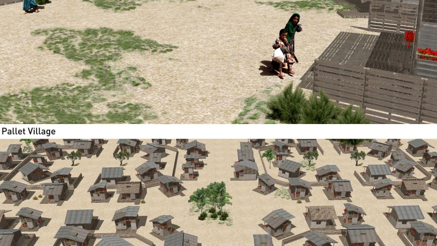 Rendering of a refugee camp in Somalia with the Pallet Houses