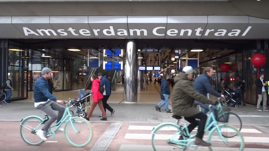 The new tunnel for bikes in Amsterdam