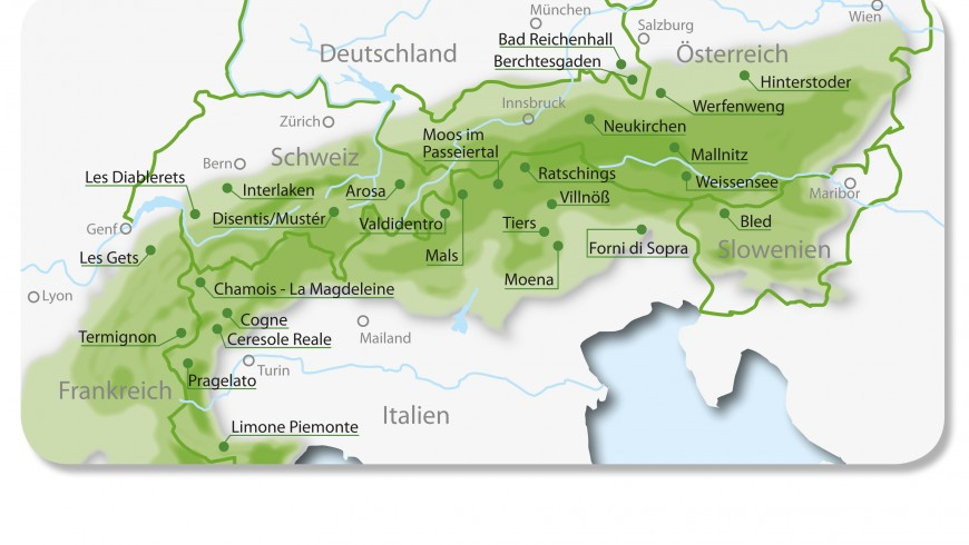 Map of Alpine Pearls, eco-sustainable and carfree destinations in the Alps
