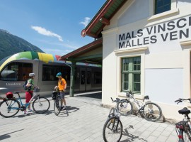 Train and bike in Mals, Malles (South Tyrol)