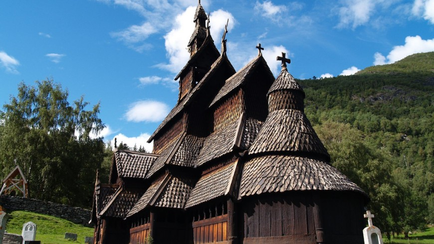Lærdal, the best preserved wooden church in Norway