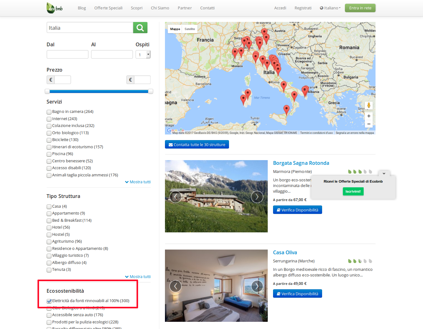 Map of Hotel and B & B with clean energy in Italy, doing a search for Eco-Sustainability criteria with Ecobnb platform.
