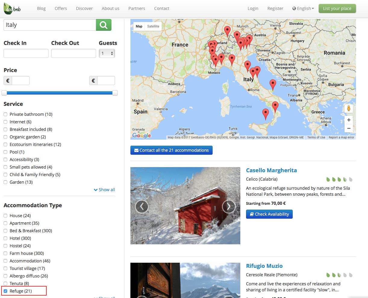 With Ecobnb you can find eco-friendly shelters all around the world