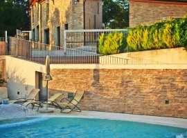 swimming pool at Casa Oliva, Albergo Diffuso in an ancient village in Marche region (Italy)