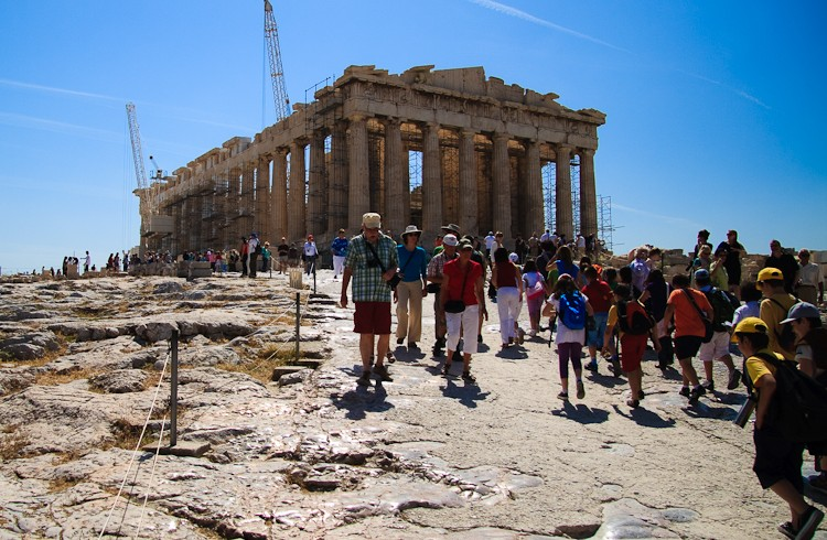 Parthenon tourists