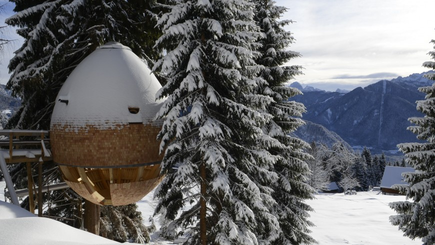 Tree house among the snowy forests, Udine, Julian Alps, Italy