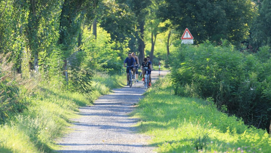 Green cycle path along river Po, near Gualtieri, photo by Emanuele Benigni, via flickr