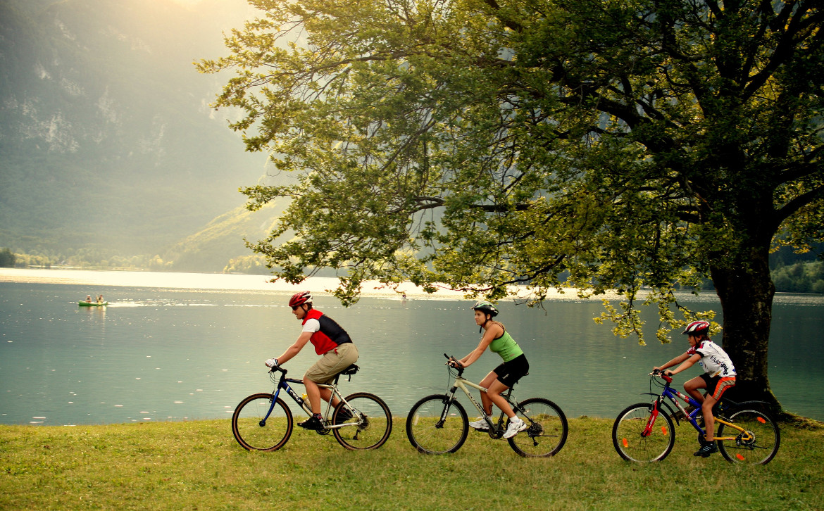 On a bicycle near the lake in Bled