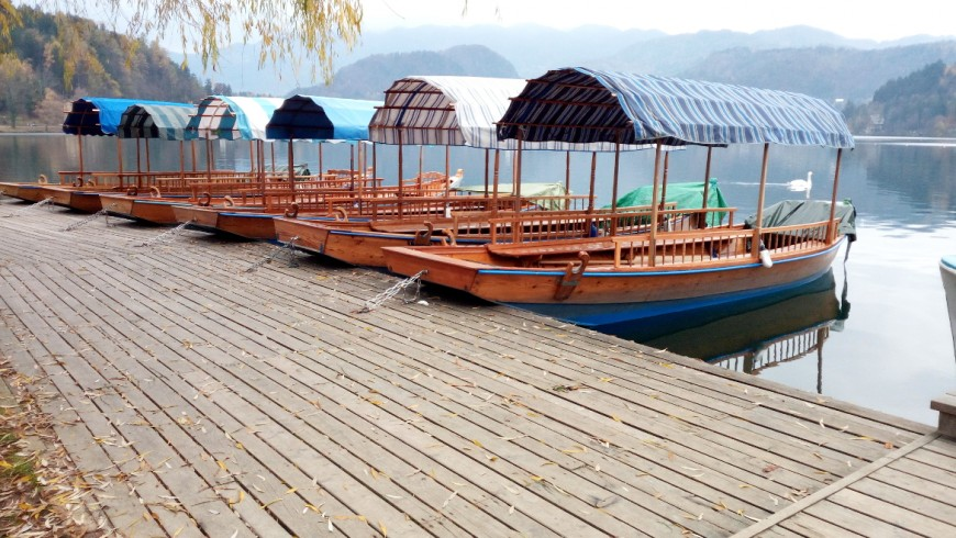 Typical wooden boats on Bled's lake, photo by Silvia Ombellini