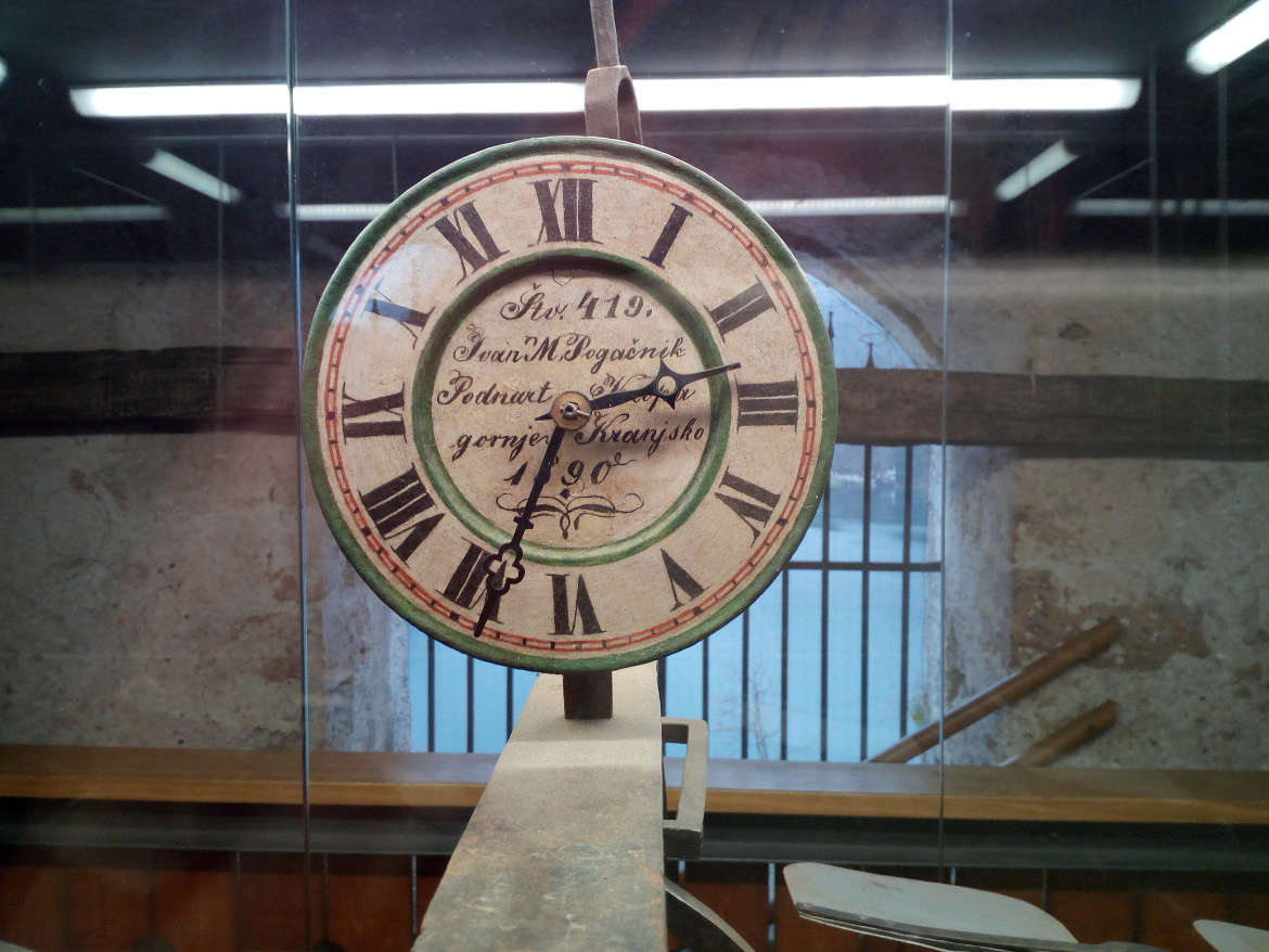 The clock inside the bell tower