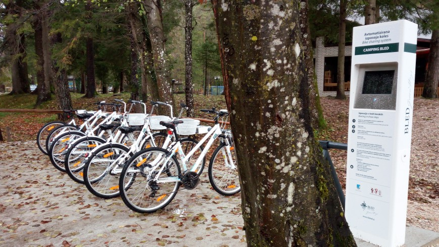 Bicycles rental on the lake, near Bled's camping