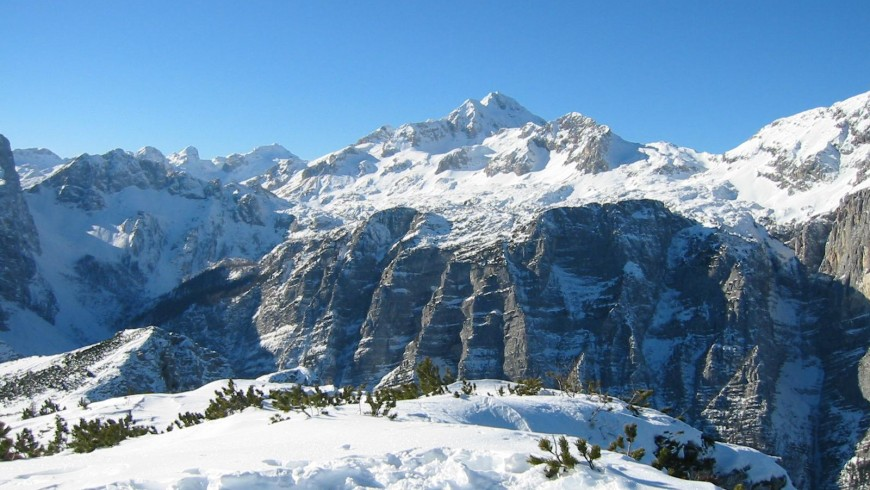 View of the snow-covered mountain Triglav (Slovenia's highest mountain)