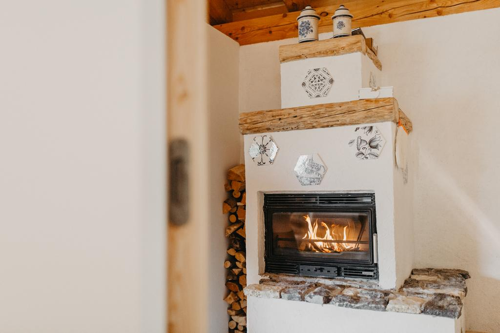 fireplace in the Eco-Chalet Odomi