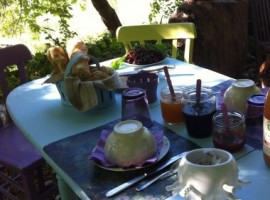 Outside table with biological products, Maison Bleue, green tourist facilities