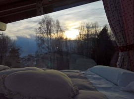 View of the landscape from the bed, cable car