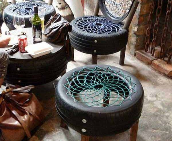 Living room made from old tires, photo via Pinterest