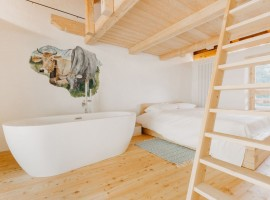 the room with Jacuzzi of the eco-chalet in Trentino