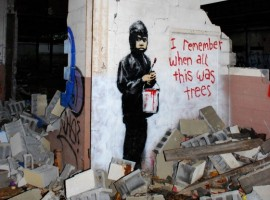 """""""I remember when all this was trees"""" by Banksy. Photo via Focus"""