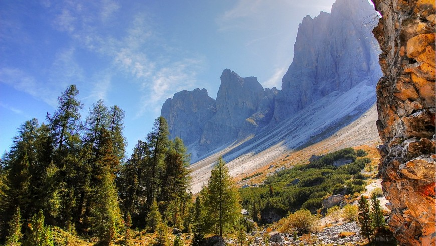 Foliage in South Tyrol, among the peaks of the Odle