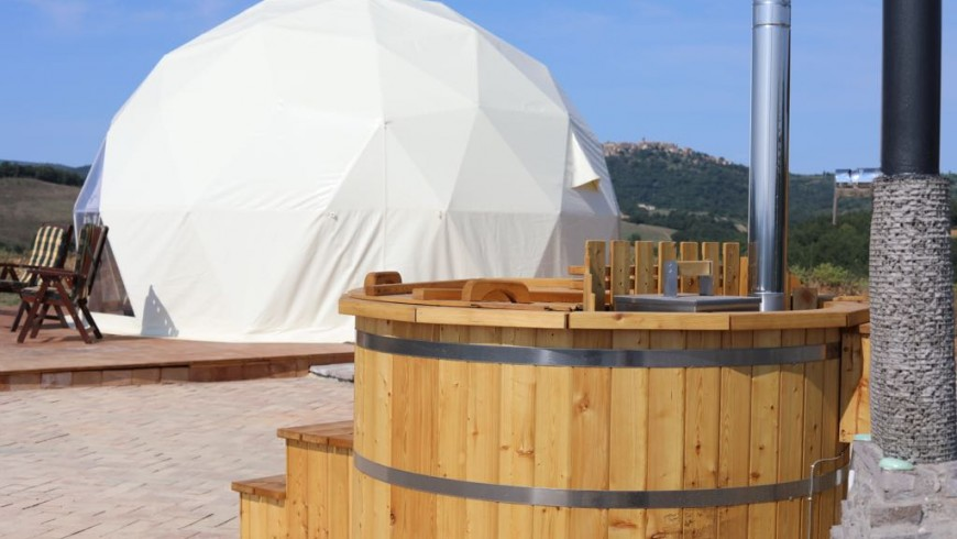 Glamping in a geodesic dome