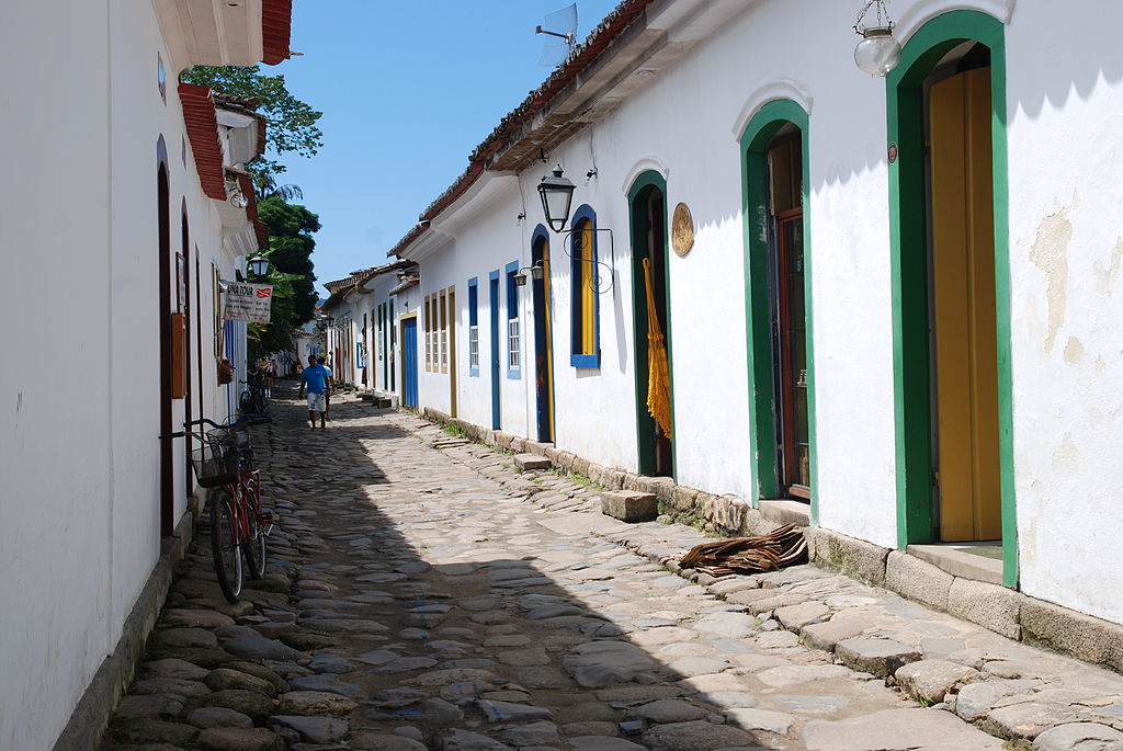 A narrow street of Paraty village, Brazil
