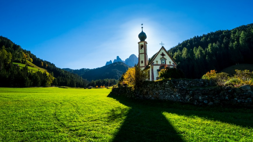 A walk to San Giovanni Church, Val di Funes, South Tyrol, Italy