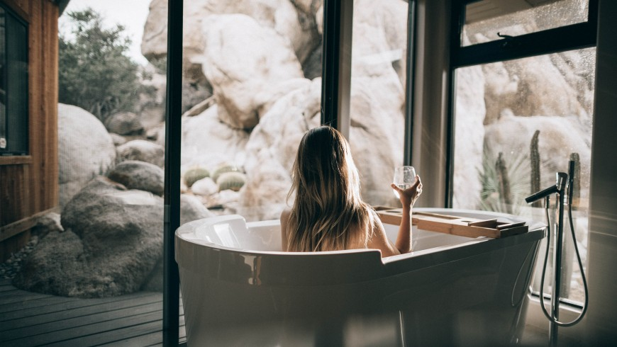 person in a hot tub