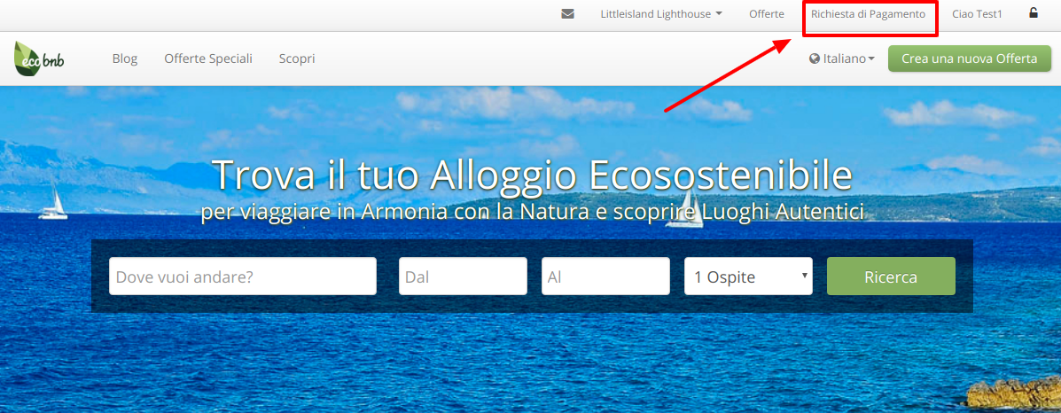 """Homepage of Ecobnb, after login, at the top right of the menu you can find the button """"Payment Request"""""""