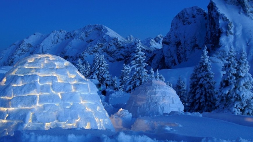 A snow experience in an igloo