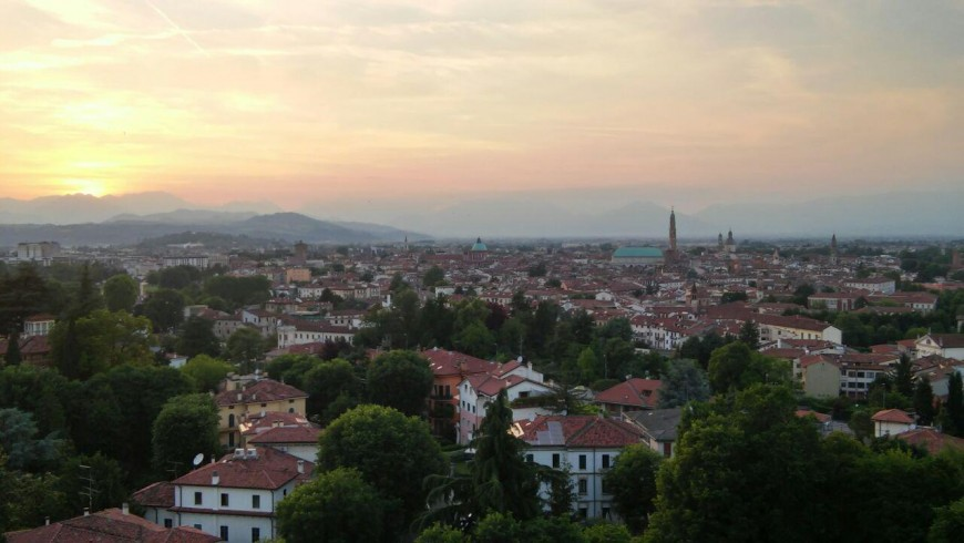View of Vicenza at sunset from Monte Berico