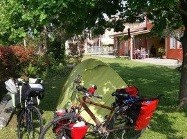 tent and bikes