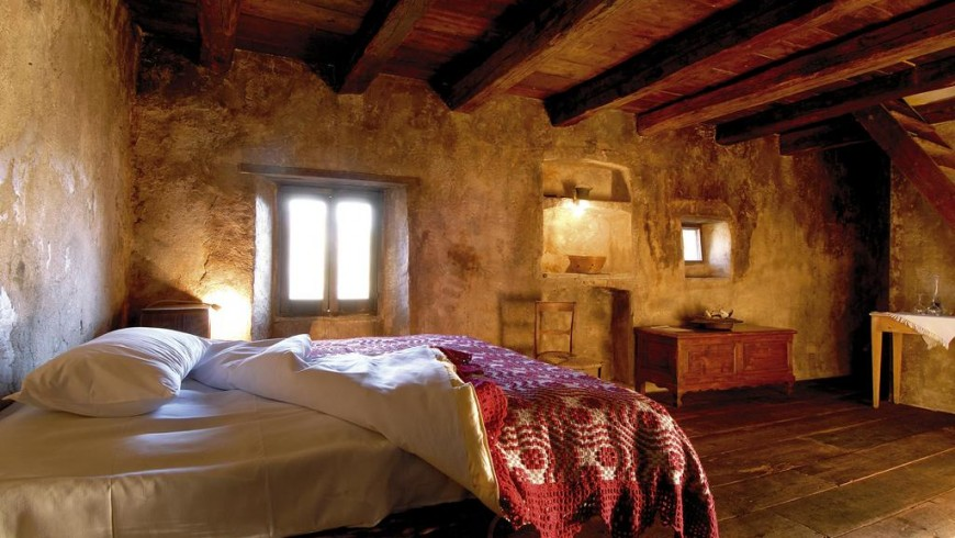 Sextantio: a bedroom of the Albergo Diffuso in Santo Stefano, South Italy