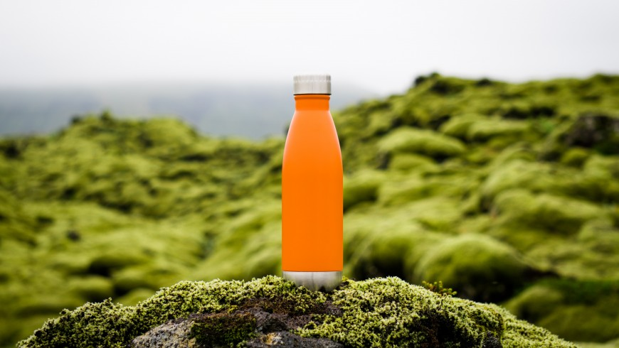 water bottle in the green nature