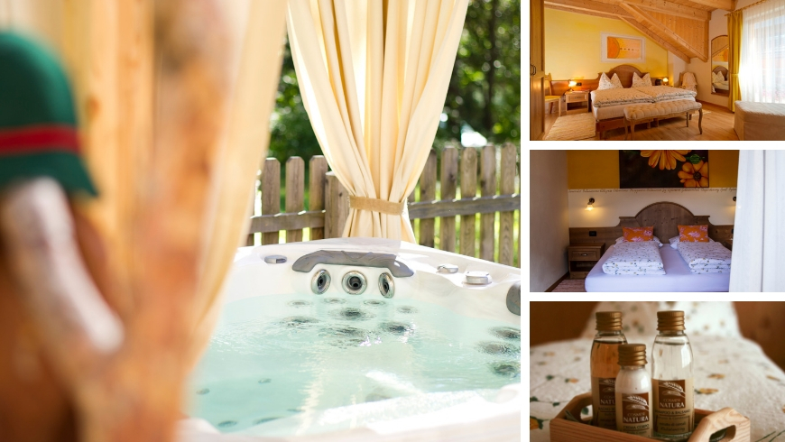 Outdoor jacuzzi, rooms, natural soaps.