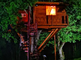 The tree-house seen from outside during the night
