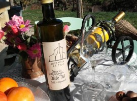 Table with a bottle of local wine