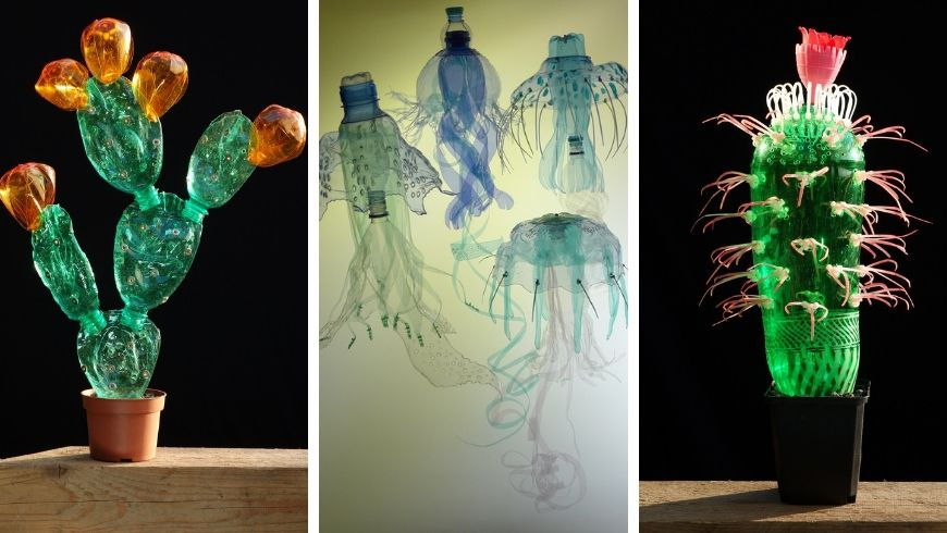 Veronika Richterová works of art made with recycled bottles