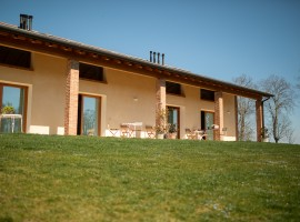 View of the grass and the porch of the agritourism