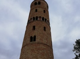 Round bell tower, medieval made with bricks