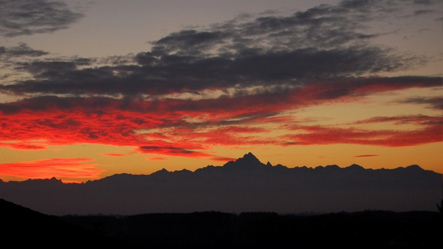 Monviso seen from the High Route, at sunset