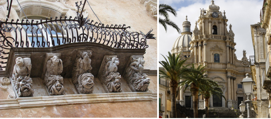 On the left, decorative detail on the facade of Palazzo Cosentini. On the right, St. George Cathedral in Ragusa Ibla.