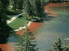 Red lake in the middle of mountains