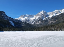 Frozen red lake during the winter